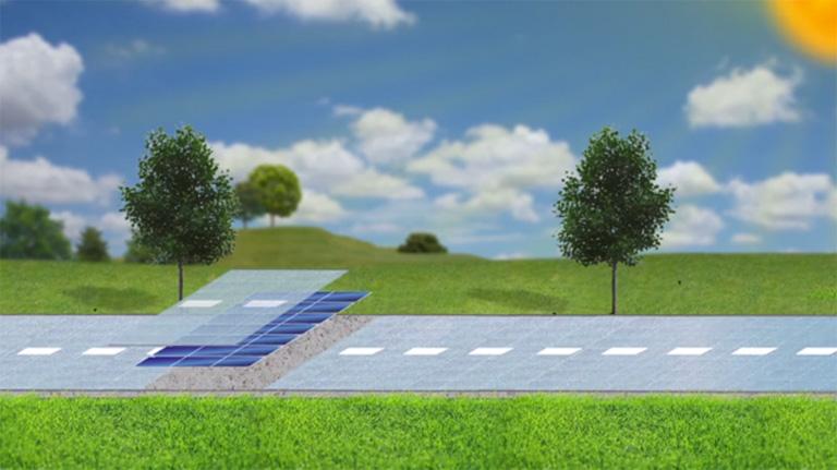 Los paneles solares quedan emparedados entre la base de hormigón y una superficie de vidrio transparente especialmente tratado.